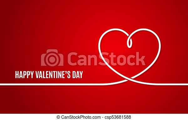Valentines Day Banner Valentines Heart Line On Red Vector
