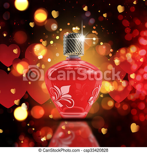 Valentine's Day bokeh lights background with 3D perfume bottle - csp33420828