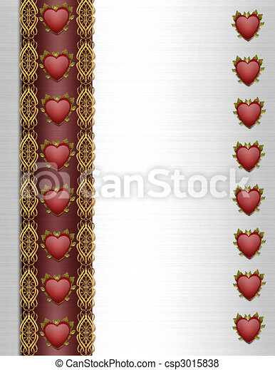 Valentines Day Border Fancy hearts - csp3015838
