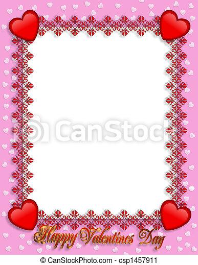Valentines Day Border Hearts  - csp1457911