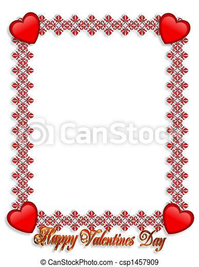 Valentines Day Border Hearts - csp1457909