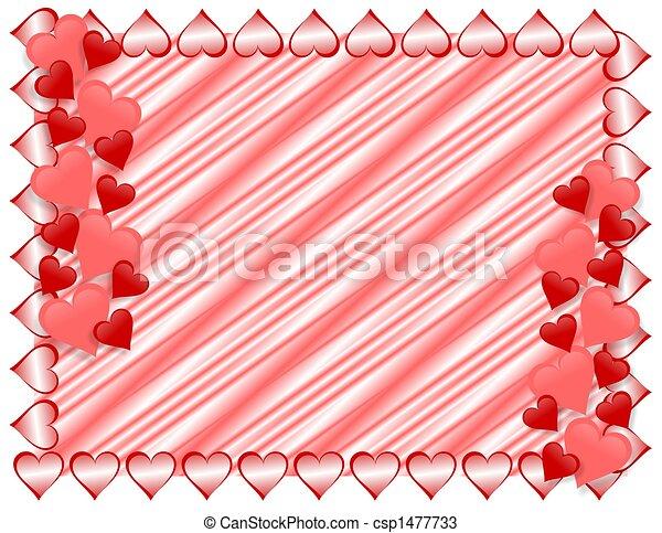 Valentines Day Border Hearts - csp1477733
