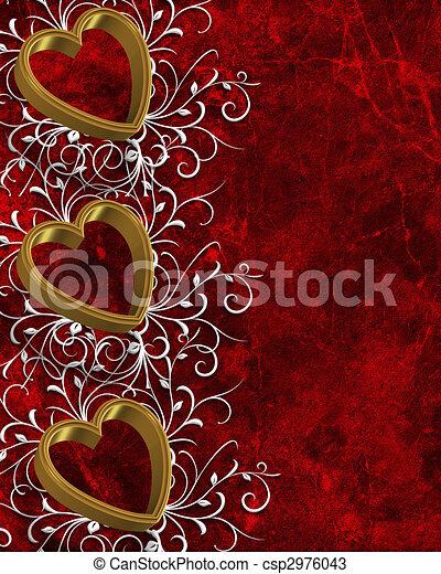 Valentines Day Border Hearts  - csp2976043