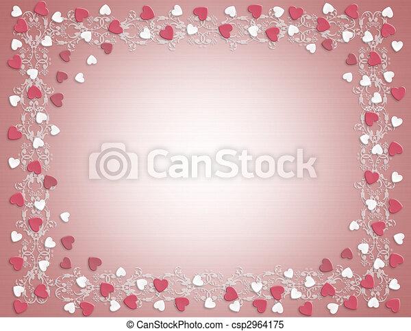 Valentines Day Border Hearts - csp2964175