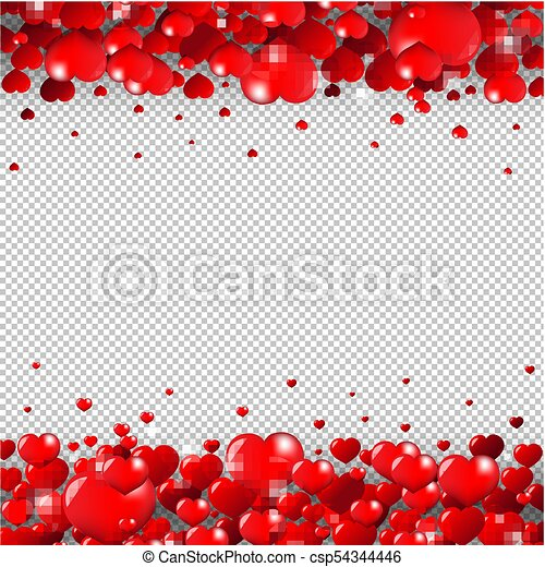 Valentines Day Border Isolated Transparent Background With Gradient