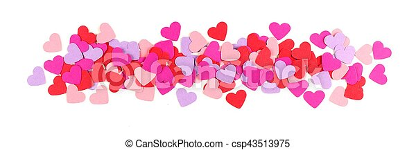 Valentines Day border of paper hearts isolated - csp43513975