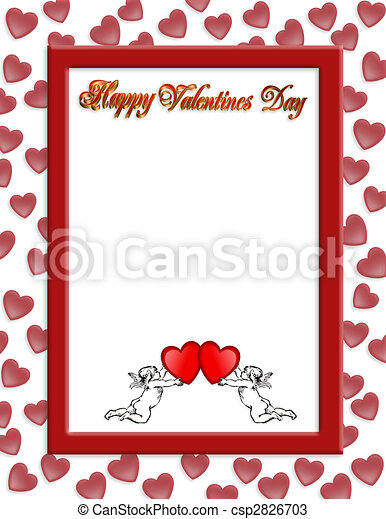 Valentines Day Border With 3d Text Illustration Composition Red