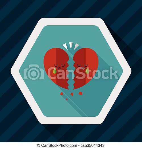 Valentine's Day broken heart flat icon with long shadow,eps10 - csp35044343