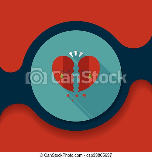 Valentine's Day broken heart flat icon with long shadow,eps10 - csp33805637