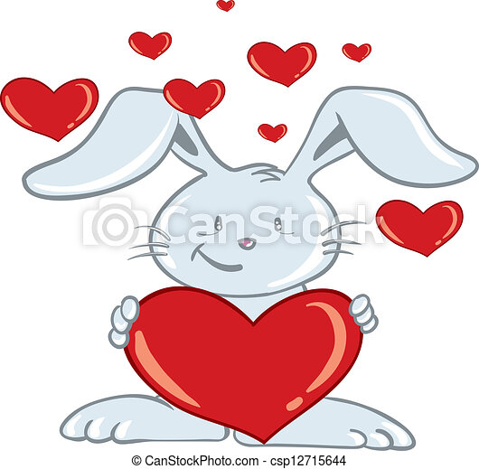cartoon illustration of a valentine's day bunny holding a eps, Ideas