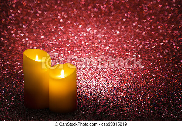 valentines day candles red hearts background valentine candle lights wedding love csp33315219