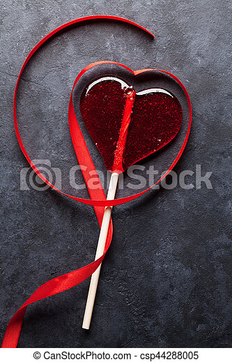 Valentines Day Candy Heart And Red Ribbon Valentines Day Greeting