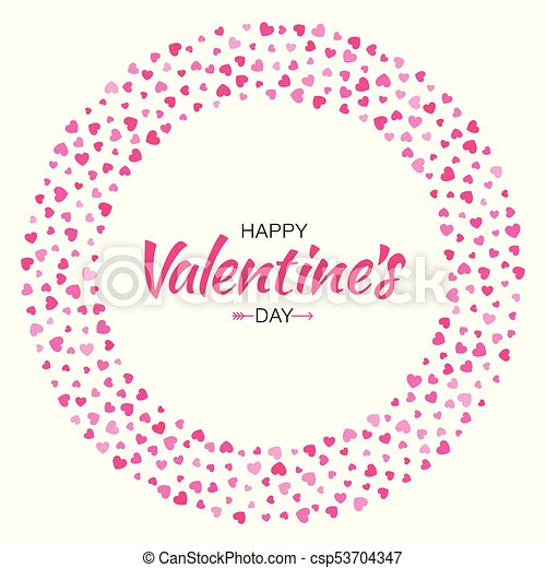 Valentines Day Card Design Love Circle Frame From Pattern Gentle