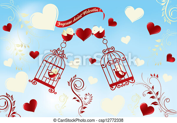 Valentines day card in french joyeuse saint valentin birds in valentines day card in french csp12772338 altavistaventures Image collections