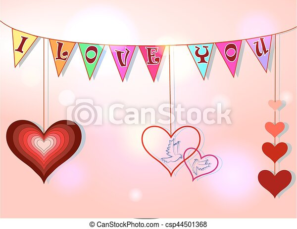 Clip Art Line Of Hearts : Valentine s day card with hearts pigeons and phrase i love