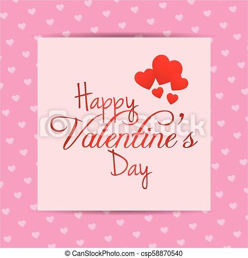 Valentine's day card with pink pattern background - csp58870540