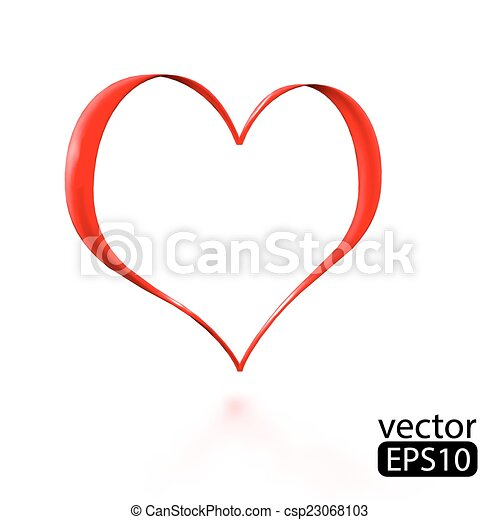 Valentine's day card with ribbon heart. - csp23068103