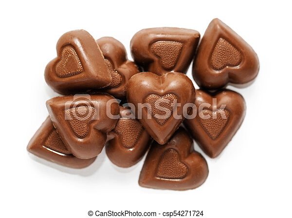 Valentines Day Chocolate Hearts Top Down View Of Heart Shaped Milk