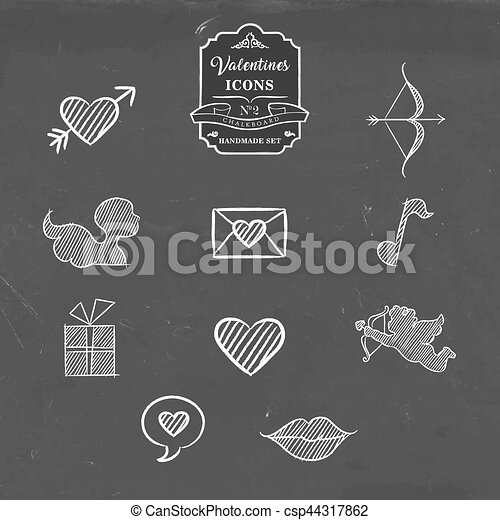 Valentines day collection of vintage sketch icon - csp44317862
