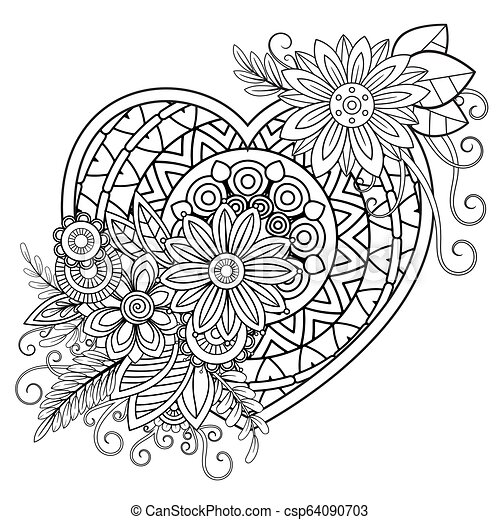 Valentines Day Coloring Page Heart With Floral Pattern Valentines Day Adult Coloring Page Vector Illustration Isolated On