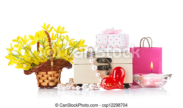valentines day concept with gift and flowers - csp12298704