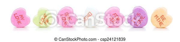 Valentines Day conversation hearts - csp24121839