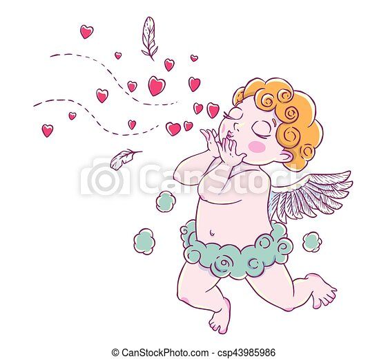 Valentine S Day Cupid Boy Cloud Pants Knelt And Blowing Vector