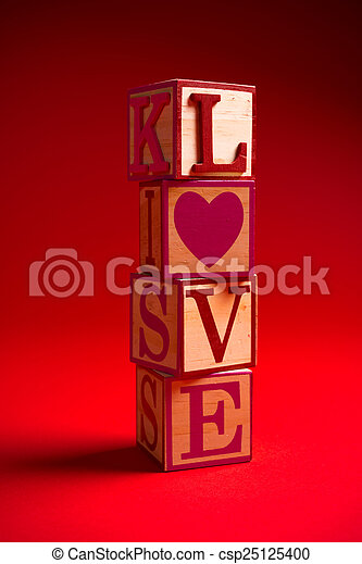 Valentine's Day decoration with the word LOVE - csp25125400