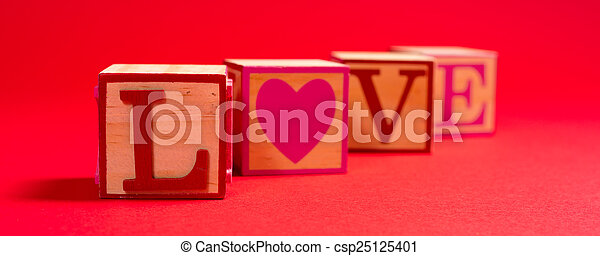 Valentine's Day decoration with the word LOVE - csp25125401