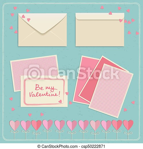 Valentines Day Envelopes Set Cute Valentines Day Postcards And