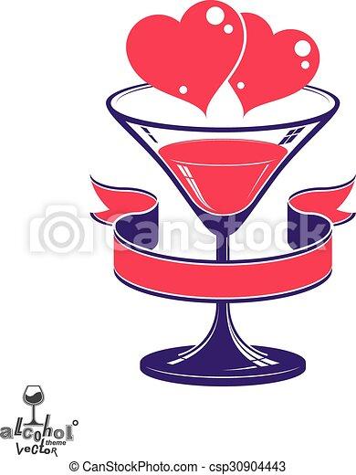 Valentines Day Festive Illustration Martini Glass With Decorative Ribbon
