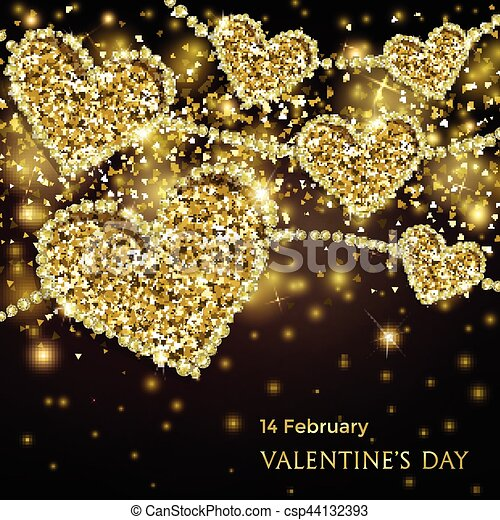 Luxury Valentines Day Festive Sparkle Banner Glitter Gold Hearts