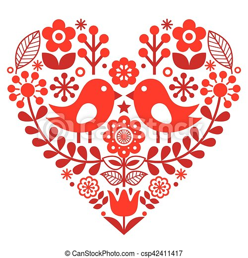 Valentine's Day folk pattern with birds and flowers - Finnish inspired - csp42411417