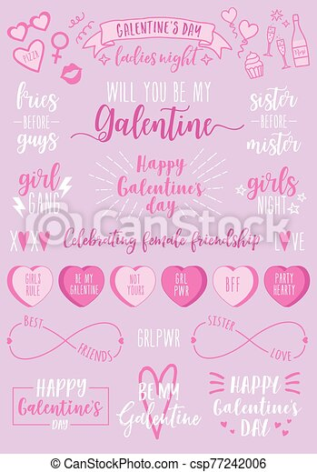 Valentines Day Galentines Day Female Party Vector Set Galentines Day Hand Drawn Vector Design Elements For Valentine S Canstock