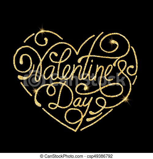 Valentine S Day Glitter Golden Hand Lettering Vector Illustration