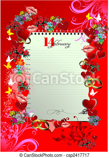 Valentine`s Day  Greeting Card. Vector illustration. Cover - csp2417717