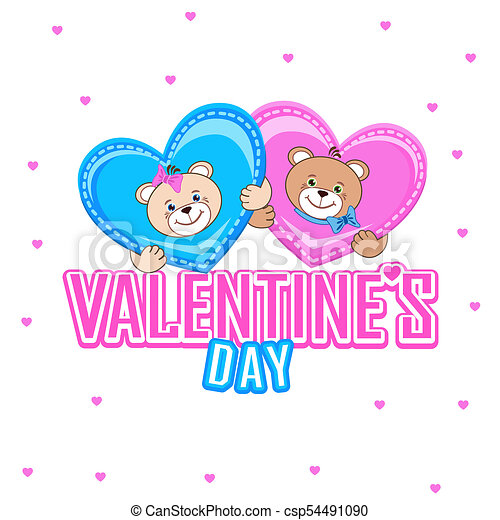 Valentines Day Greeting Card With A Teddy Bear Valentines Day