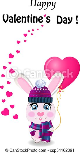 Valentine S Day Greeting Card With Cute Rabbit In Knitted Hat