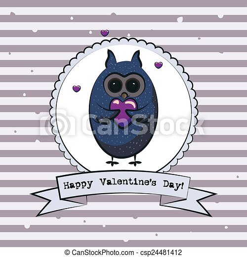 Valentine's day greeting card with owls. Vector - csp24481412
