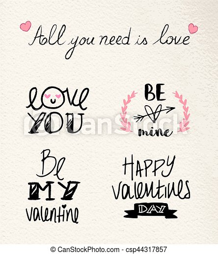 Valentines Day Hand Drawn Love Quote Set