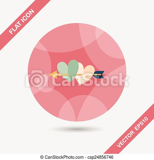 Valentine S Day Heart Bow And Arrow Flat Icon With Long Shadow Eps10