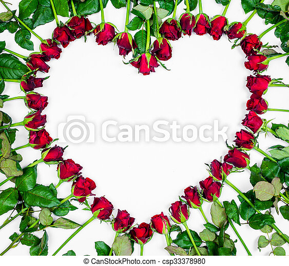 Valentines Day Heart Made of Red Roses Isolated on White Background. - csp33378980