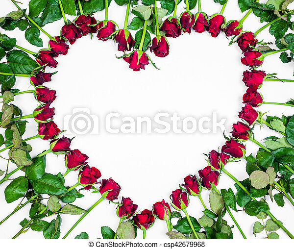 Valentines Day Heart Made of Red Roses Isolated on White Background. - csp42679968