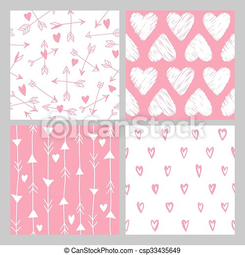Valentine's Day Heart Patterns - 4 Seamless Backgrounds - in vector - csp33435649
