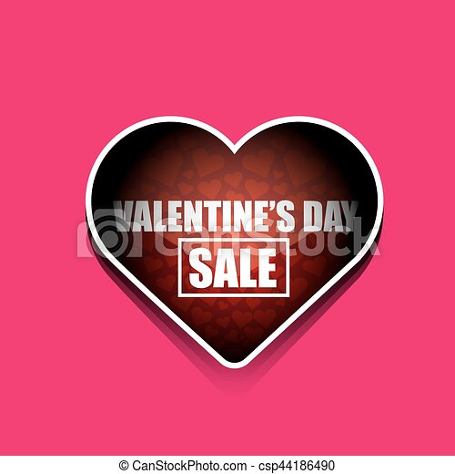 valentines day heart sale tag isolated on pink background vector