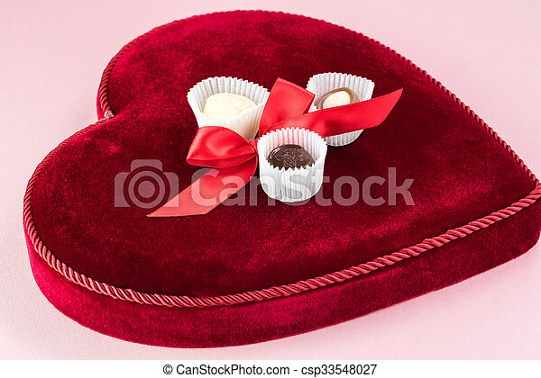 Valentines Day Heart Shaped Candy Box Close Up Of Heart Shaped