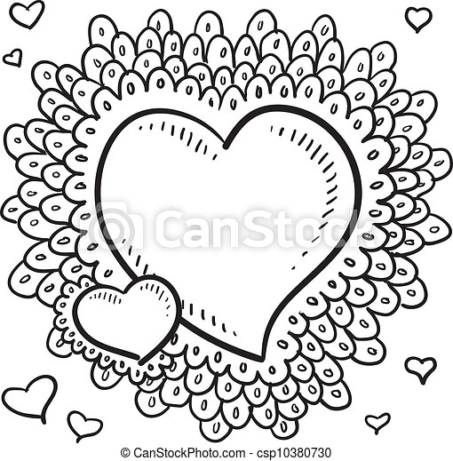 Valentine S Day Heart Sketch Doodle Style Valentine S Day Heart