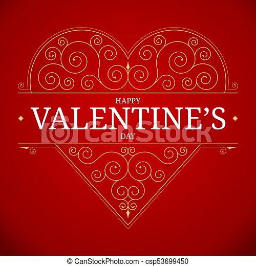 Valentines Day Heart Vintage Design Ornate Golden Love Symbol With Floral Swirl Golden Elements On Red Background Vector