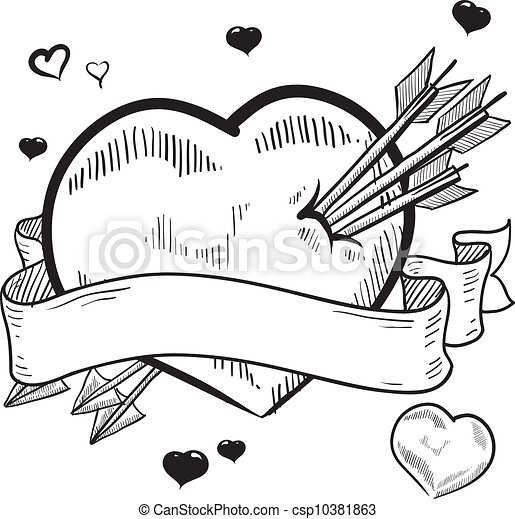 Valentine S Day Heart With Banner Doodle Style Valentine S Day