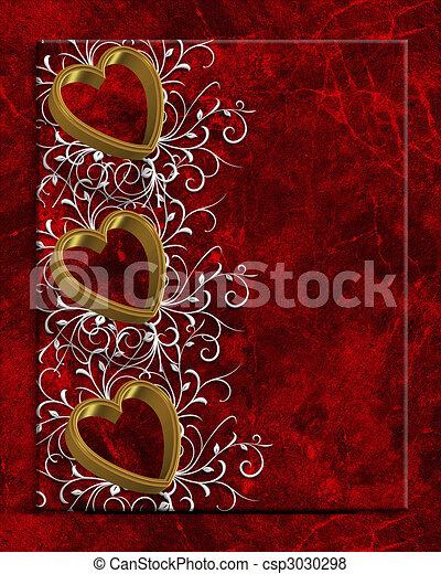 Valentines Day Hearts Border - csp3030298